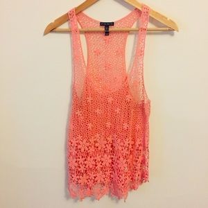 Fang crocheted peach/pink tank top